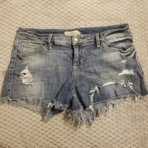 Guess Denim Distressed Shorts - Floral Embroidery
